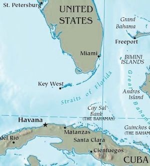 map of parts of Florida and Cuba