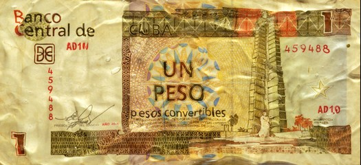 rumpled Cuban peso